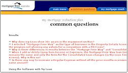Mortgage Reduction Software FAQ sample page
