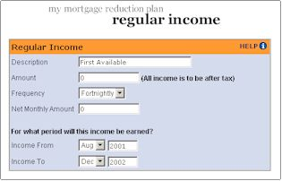Mortgage Reduction Software Regular Income sample page