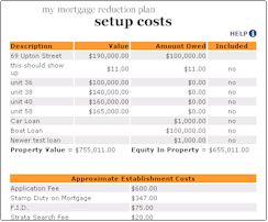 Mortgage Reduction Software Setup Costs sample page